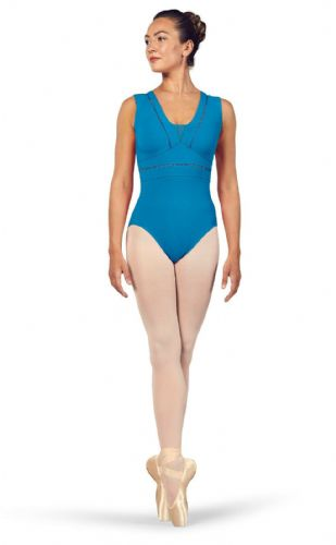 BLOCH Ladies Dance V Neckline Tank Leotard Mesh Back Zahra L4912 Maldives Blue